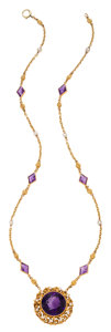 Estate Jewelry:Necklaces, Antique Amethyst, Seed Pearl, Gold Necklace. ...