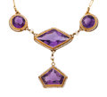 Estate Jewelry:Necklaces, Art Deco Amethyst, Seed Pearl, Gold Necklace. ...