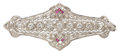 Estate Jewelry:Brooches - Pins, Art Deco Diamond, Ruby, White Gold Brooch. ...