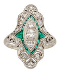 Estate Jewelry:Rings, Art Deco Diamond, Synthetic Emerald, Platinum, White Gold Ring. ...