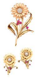 Estate Jewelry:Suites, Diamond, Synthetic Ruby, Gold Suite. ... (Total: 3 Items)