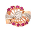 Estate Jewelry:Rings, Retro Diamond, Synthetic Ruby, Palladium, Pink Gold Ring. ...