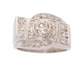 Estate Jewelry:Rings, Art Deco, Diamond, White Gold Ring. ...