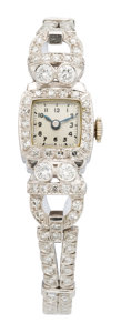 Estate Jewelry:Watches, Swiss Lady's Diamond, Platinum Watch. ...