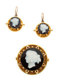 Estate Jewelry:Suites, Victorian Hardstone Cameo, Gold Jewelry Suite. ... (Total: 3 Items)