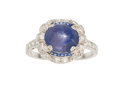 Estate Jewelry:Rings, Art Deco Star Sapphire, Sapphire, Diamond, Platinum Ring . ...