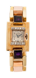 Estate Jewelry:Watches, Retro Swiss Lady's Diamond, Amethyst, Gold Watch. ...