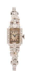 Estate Jewelry:Watches, Art Deco Hamilton Lady's Diamond, Platinum, Palladium Watch. ...