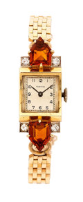 Estate Jewelry:Watches, Retro Tavannes Lady's Diamond, Citrine, Gold Watch. ...