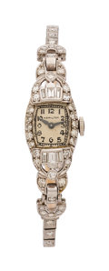 Estate Jewelry:Watches, Art Deco Hamilton Lady's Diamond, Platinum, White Gold Watch. ...