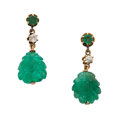 Estate Jewelry:Earrings, Emerald, Diamond, Gold Earrings. ... (Total: 2 Items)