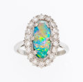 Estate Jewelry:Rings, Opal, Diamond, Platinum, White Gold Ring. ...