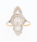 Estate Jewelry:Rings, Edwardian Diamond, Platinum-Topped Gold Ring. ...