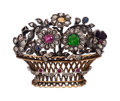 Estate Jewelry:Brooches - Pins, Antique Diamond, Multi-Stone, Silver-Topped Gold Brooch. ...