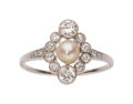 Estate Jewelry:Rings, Edwardian Pearl, Diamond, Platinum, Gold Ring. ...