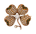 Estate Jewelry:Brooches - Pins, Antique Diamond, Seed Pearl, Glass, Gold Pendant-Brooch. ...