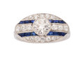 Estate Jewelry:Rings, Art Deco Diamond, Synthetic Sapphire, Platinum Ring, Shreve &Co. ...