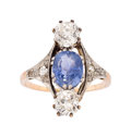 Estate Jewelry:Rings, Antique Sapphire, Diamond, Platinum-Topped Gold Ring. ...