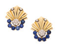 Estate Jewelry:Earrings, Retro Diamond, Sapphire, Gold Earrings. ... (Total: 2 Items)