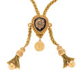 Estate Jewelry:Necklaces, Victorian Diamond, Enamel, Gold Slide Chain. ...
