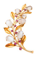 Estate Jewelry:Brooches - Pins, Retro Moonstone, Ruby, Gold Brooch. ...