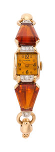 Estate Jewelry:Watches, Retro IWC Lady's Diamond, Citrine, Gold Watch. ...
