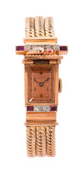 Estate Jewelry:Watches, Lucien Piccard Retro Lady's Diamond, Ruby, Pink Gold Covered DialWatch. ...
