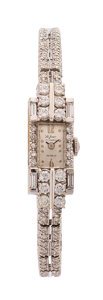 Estate Jewelry:Watches, Retro Lady's Swiss Diamond, White Gold Watch. ...