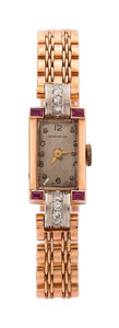 Estate Jewelry:Watches, Retro Granada Lady's Diamond, Synthetic Ruby, Pink Gold Watch. ...