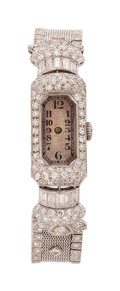 Estate Jewelry:Watches, Art Deco Swiss Lady's Diamond, Platinum Watch. ...