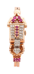 Estate Jewelry:Watches, Retro Swiss Lady's Diamond, Ruby, Platinum-Topped Pink Gold CoveredDial Watch. ...