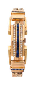 Estate Jewelry:Watches, Retro Gruen Lady's Diamond, Synthetic Sapphire, Gold Covered DialWatch. ...