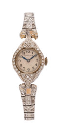 Estate Jewelry:Watches, Art Deco Hamilton Lady's, Diamond, Platinum Watch. ...