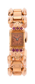 Estate Jewelry:Watches, Retro Swiss Lady's Ruby, Pink Gold, Watch. ...