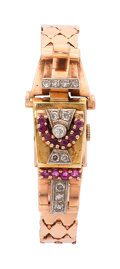 Estate Jewelry:Watches, Retro Swiss Lady's Diamond, Ruby, Platinum-Topped Gold Covered DialWatch. ...