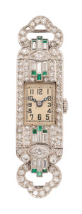 Estate Jewelry:Watches, Art Deco Swiss Lady's Diamond, Emerald, Platinum Watch Head. ...