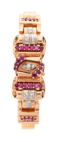 Estate Jewelry:Watches, Retro Swiss Lady's Diamond, Ruby, Pink Gold Covered Dial Watch. ...