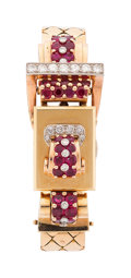 Estate Jewelry:Watches, Retro Swiss Lady's Diamond, Ruby, Platinum, Gold Covered DialWatch. ...