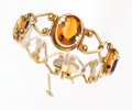 Estate Jewelry:Bracelets, Arts & Crafts Citrine, Amethyst, Gold Bracelet. ...