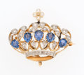 Estate Jewelry:Brooches - Pins, Edwardian Cultured Pearl, Diamond, Sapphire, Platinum-Topped GoldBrooch . ...