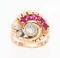 Estate Jewelry:Rings, Retro Diamond, Synthetic Ruby, Pink Gold Ring. ...