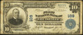 National Bank Notes:Kentucky, Louisville, KY - $10 1902 Plain Back Fr. 624 The First NB Ch. #109. ...
