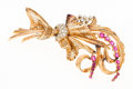Estate Jewelry:Brooches - Pins, Retro Diamond, Ruby, Gold Brooch. ... (Total: 2 Items)