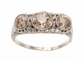Estate Jewelry:Rings, Edwardian Colored Diamond, White Gold Ring. ...