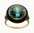 Estate Jewelry:Rings, Blue Zircon, Enamel, Gold Ring. ...