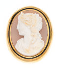 Estate Jewelry:Brooches - Pins, Victorian Hardstone, Enamel, Gold Brooch. ...