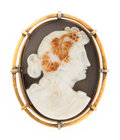 Estate Jewelry:Brooches - Pins, Victorian Hardstone Cameo, Gold Pendant-Brooch. ...