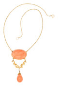 Estate Jewelry:Necklaces, Antique Coral, Freshwater Pearl, Gold Necklace. ...