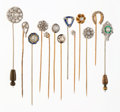 Estate Jewelry:Stick Pins and Hat Pins, Diamond, Multi-Stone, Platinum, Gold Stickpins. ... (Total: 13 Items)