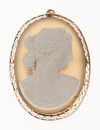 Hardstone Cameo, Gold Pendant-Brooch